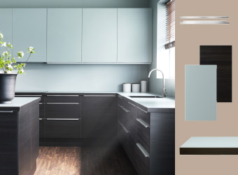 Kitchen with turquoise and black doors and aluminium handles