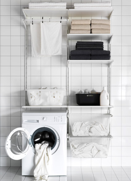 A laundry room storage solution made with ALGOT