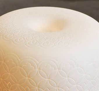 Close detail of LITER table lamp.