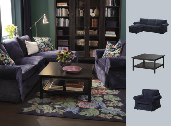 Sofa and armchair in dark blue and rug with floral pattern