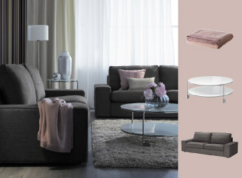 KIVIK sofas in grey-brown with STRIND coffee and side table