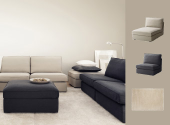 KIVIK sofas and footstools in beige and dark grey