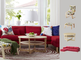 Pink-red sofa with chaise longue and birch veneer table