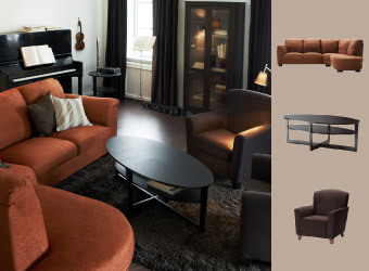 Corner sofa in rust with dark brown armchair and coffee table