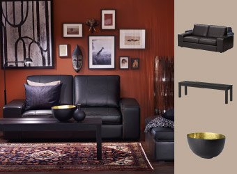 KIVIK black leather sofa and footstool with a black bench