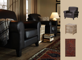 Swivel armchair in black leather with beige leather sofa