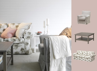 Armchair with check pattern and sofa with floral pattern