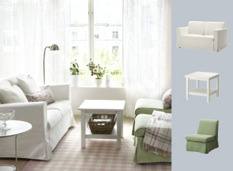 White side table with sofa and armchairs in white and green