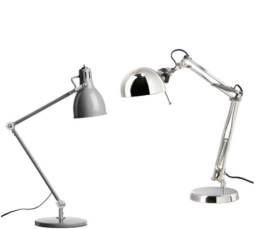 Grey ARÖD work lamp and FORSÅ nickel-plated work lamp.