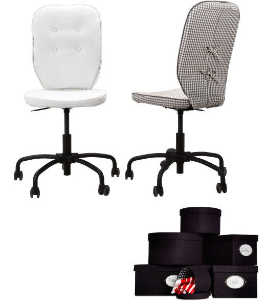 LILLHÖJDEN swivel office chairs and Black KVARNVIK boxes