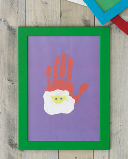 A handprint makes a cute santa