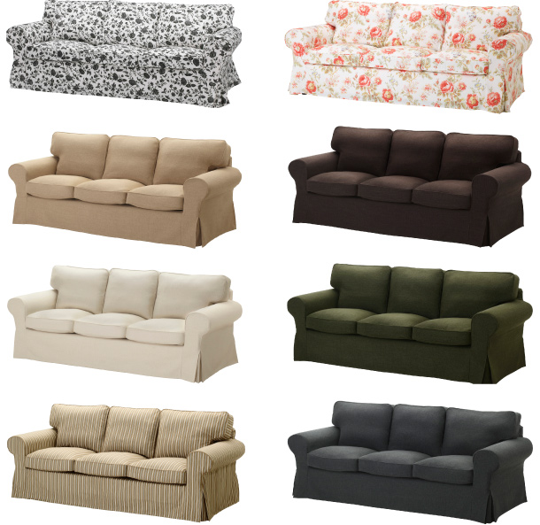 Collage of EKTORP sofas with different covers.