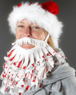 Santa beard made with metre fabric.