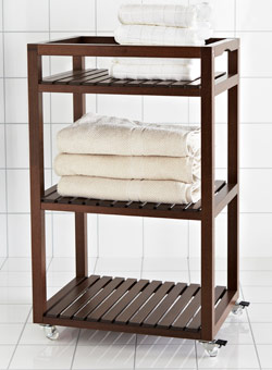 Dark brown MOLGER trolley with towels