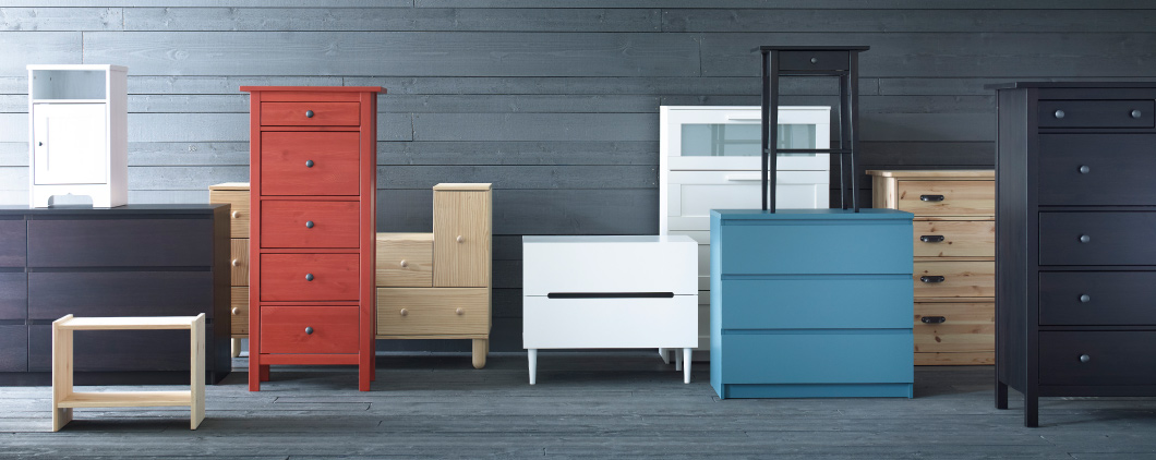 Collage of chests of drawers including MALM, HEMNES and IKEA PS 2012.