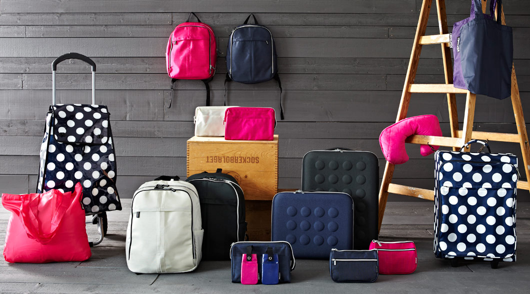 Collage of colourful IKEA family travel products.