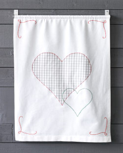 A tea towel hanging on a wall