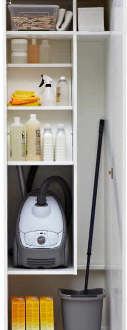Organised inside of a cleaning closet