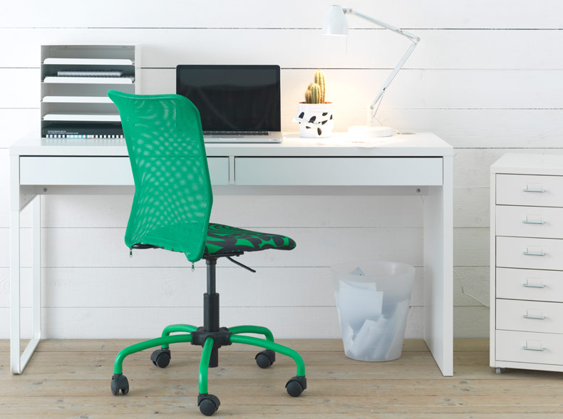 MICKE white desk with TORBJÖRN green swivel chair and HELMER drawer unit