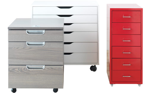 Three different drawer units on castors