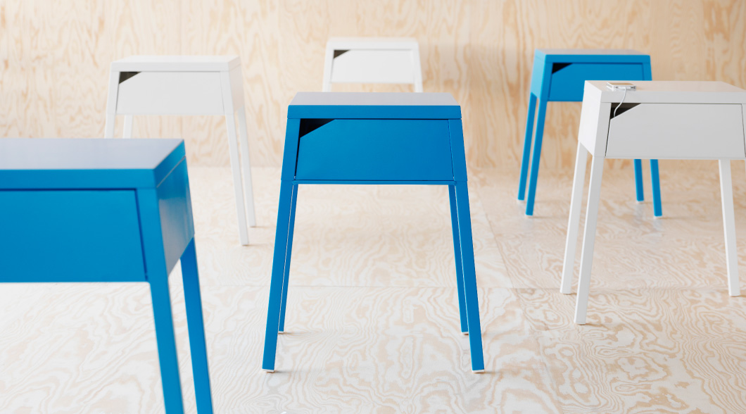 SELJE bedside tables in blue and white