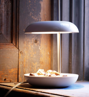 LEKARYD LED table lamp with a base in the shape of a bowl
