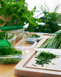 Transparent food containers and carving board with chopped chives