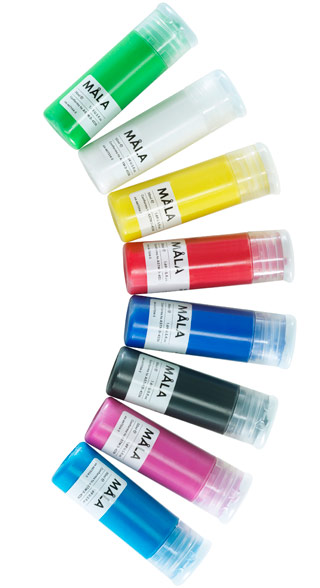 MÅLA paint in assorted colours