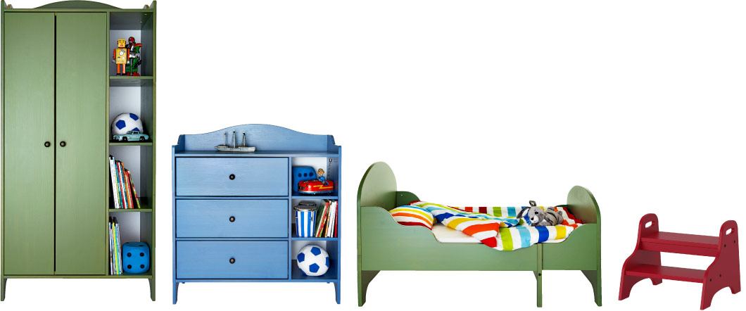 TROGEN series of children's furniture in blue, green and red
