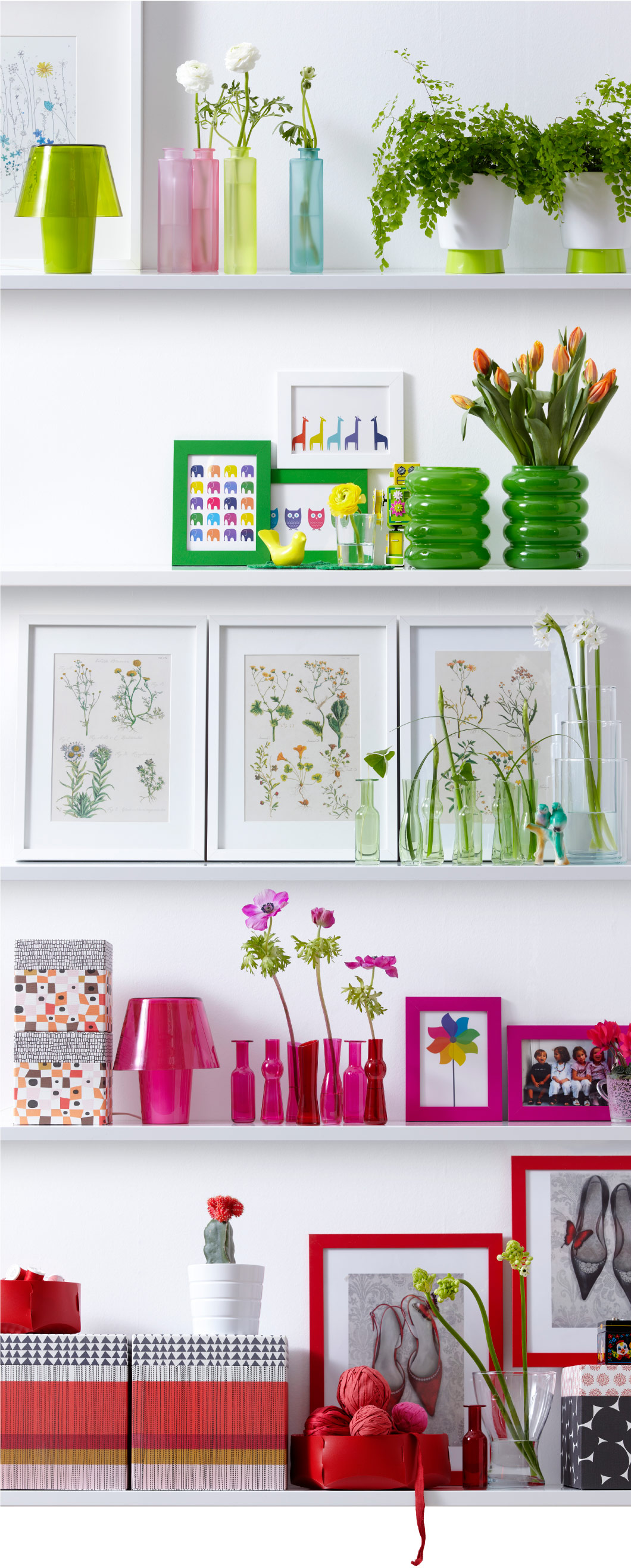 Display of posters, vases and boxes in matching colours