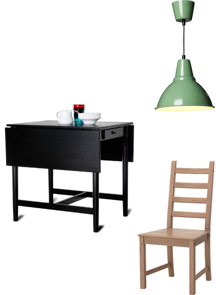 Green pendant lamp, black-brown drop-leaf table and antique stained chair