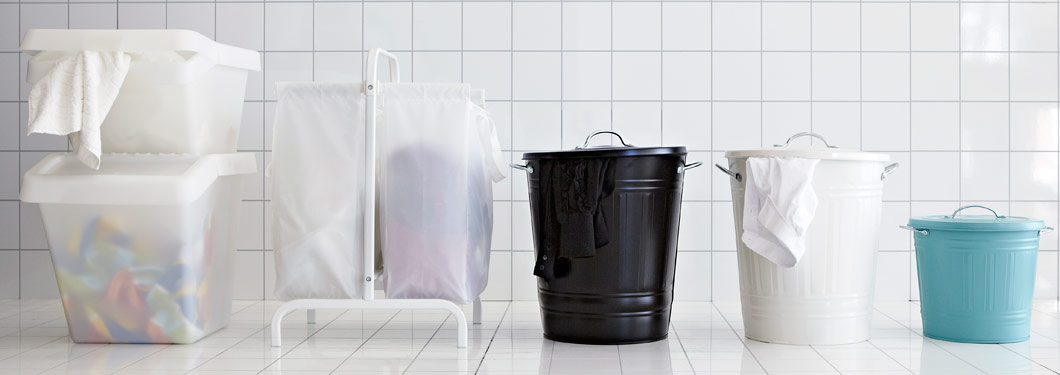 Waste sorting bins, laundry bag with stand and bins with lid