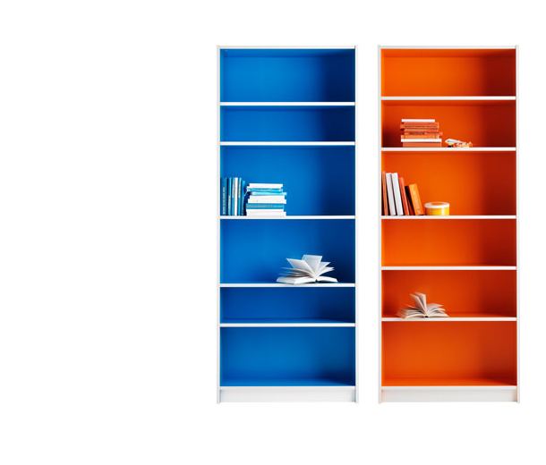Two white BILLY bookcases, one painted blue inside and one painted orange