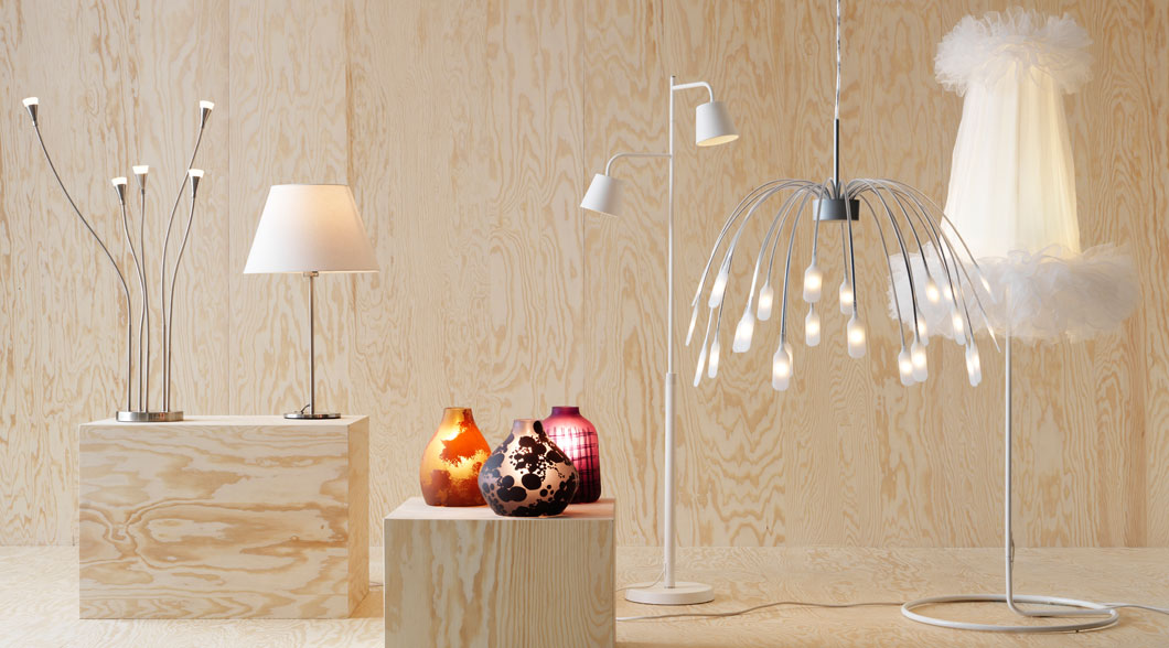 Collage of LED pendant lamps, table lamps and floor lamps