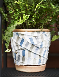 Plant pot wrapped in strips of EMMIE RAND striped fabric