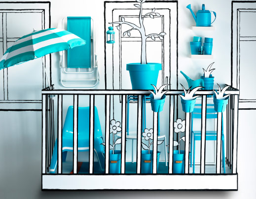 Cartoon balcony with turquoise outdoor accessories