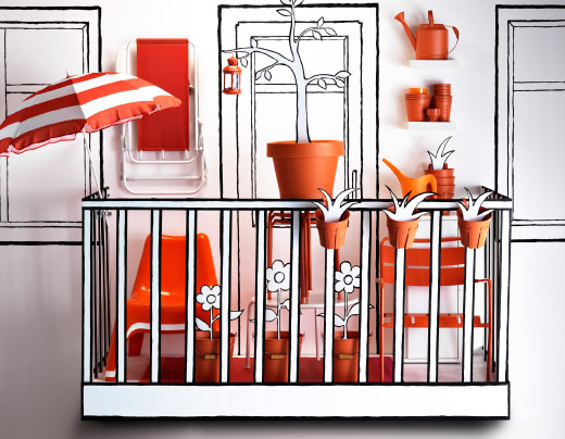 Cartoon balcony with orange outdoor accessories