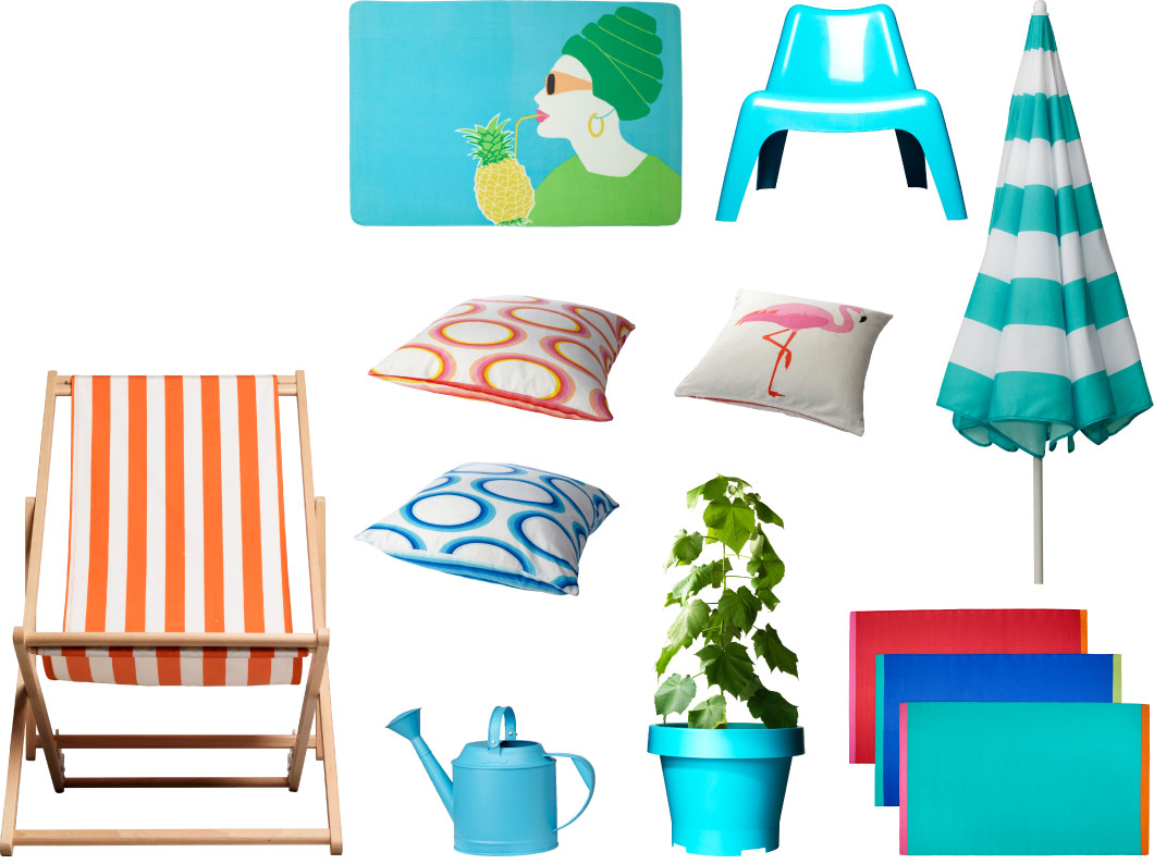 Collage of place mats, chairs, cushions, watering can and parasol