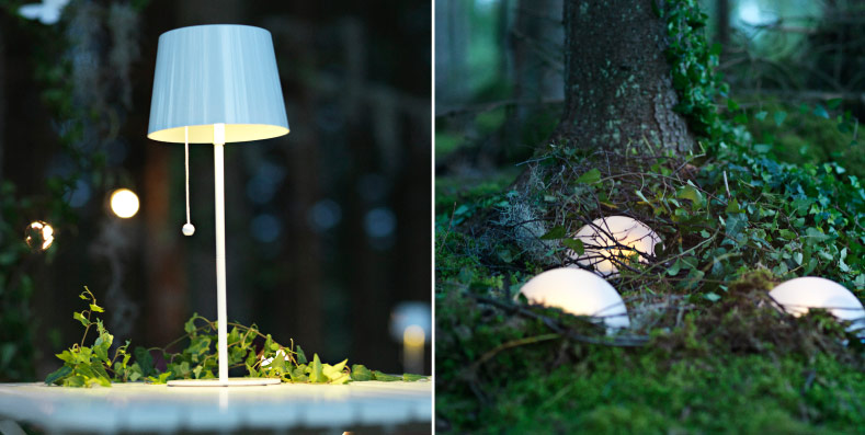 Solar-powered table lamp and battery-operated half globes