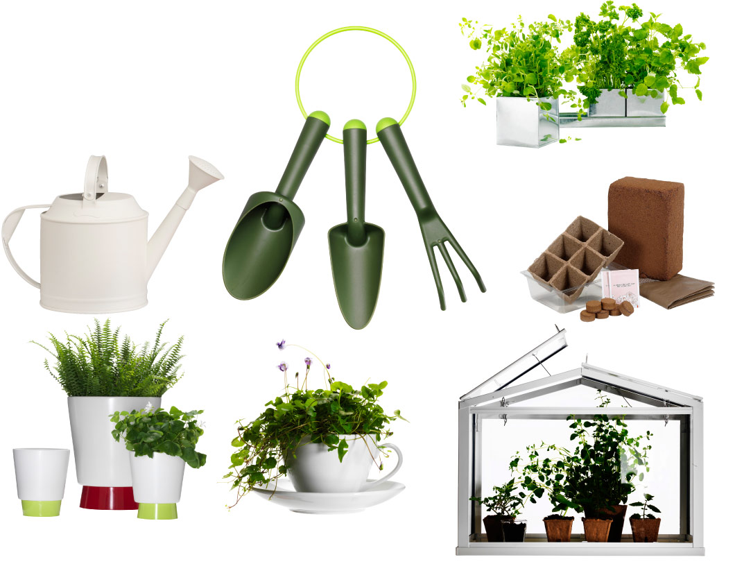 Collage of plant pots, greenhouse, watering can and garden tools