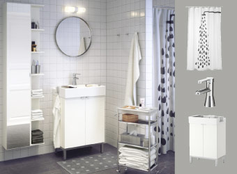 White bathroom with GRUNDTAL mirror, LILLÅNGEN mirror cabinet and wash-basin cabinet