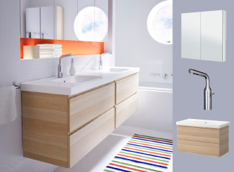 Two GODMORGON wash-stands in white stained oak with LÅNGSKÄR chrome mixer taps