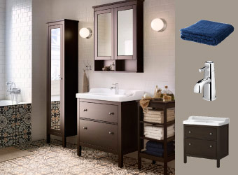 Black-brown bathroom with HEMNES mirror cabinets and wash-stand