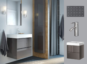Bathroom with GODMORGON mirror, high-gloss grey wash-stand and wall cabinet