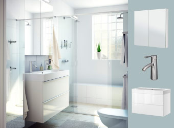 White bathroom with GODMORGON mirror cabinet, wash-stand and wash-basin