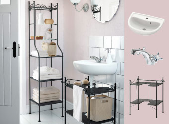 Bathroom with RÖNNSKÄR black shelving unit, wash-basin shelf and white wash-basin
