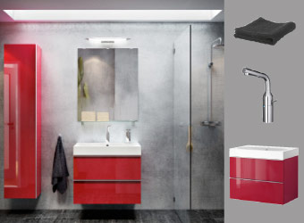 Bathroom with GODMORGON mirror, high-gloss red high cabinet and wash-basin cabinet