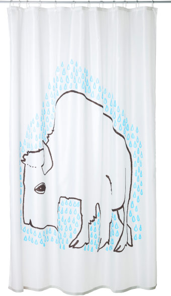 Shower curtain with bison pattern