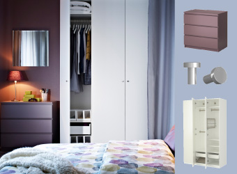 Bedroom with MALM chest of drawers in lilac and PAX BALLSTAD white wardrobe.