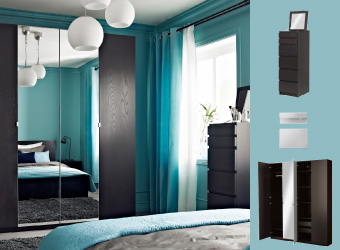 PAX wardrobe with mirror and black-brown doors and MALM chest of drawers